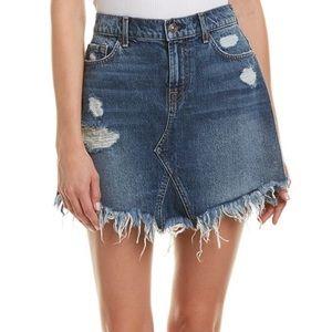 7 For All Mankind Frayed Denim Skirt